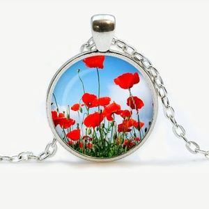 Poppy Field Silver and Glass Necklace